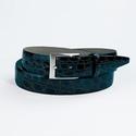 Black Glazed Crocodile Belt