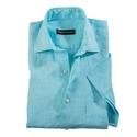 Aqua Linen Short Sleeve