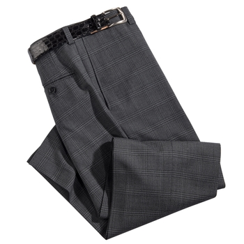 Windowpane Stretch Travel Slacks