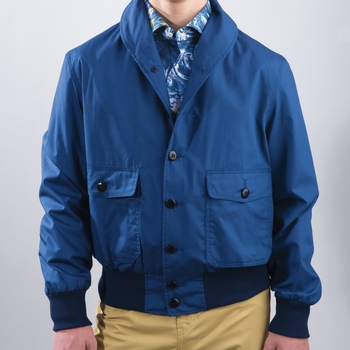 Shawl Collar Cotton Zip Jacket