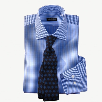 Micro-Gingham Check Twill Dress Shirt by Hagen
