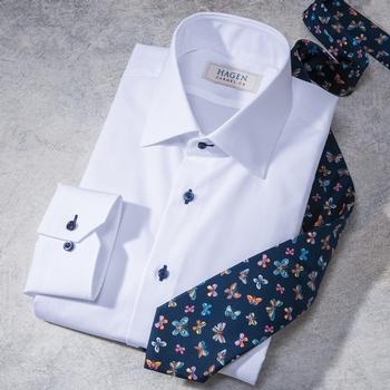 White Poplin Dress Shirt by Hagen