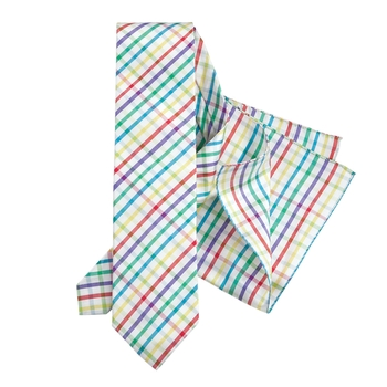 Spring Checks Tie and Pocket Square Set