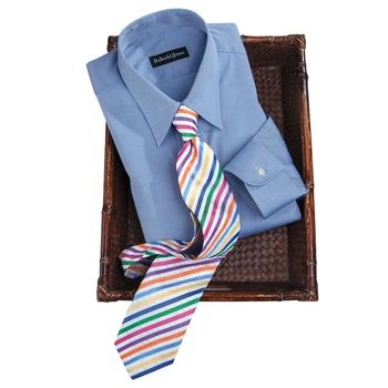 Silk Seersucker Rainbow Stripe Tie