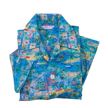 Tropicale Print Short Pajamas by Derek Rose