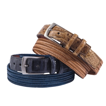 Croco Tab Leather Stretch Belts