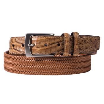Croco Tab Leather Stretch Belts