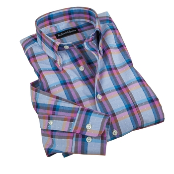 Layered Windowpane Dobby Sport Shirt