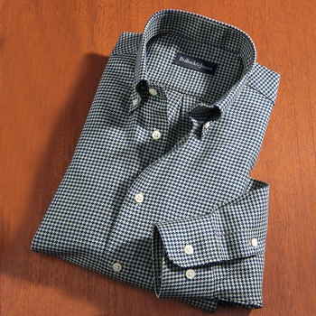 Houndstooth Sport Shirt Tan & Navy