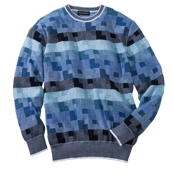 Stripes and Squares Cotton Crewneck