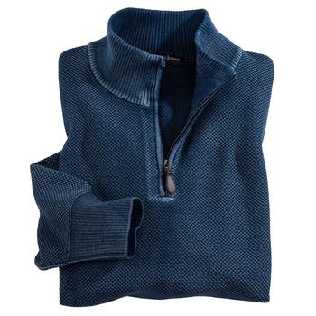 Washed Indigo Quarter-Zip Pullover