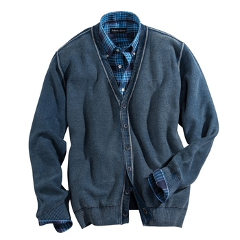 Washed Indigo Cotton Cardigan