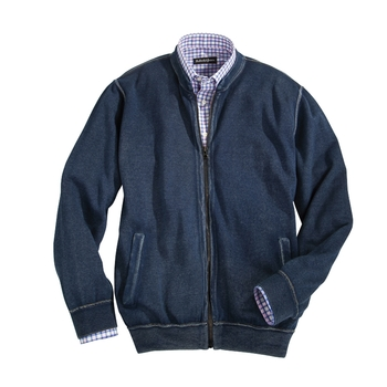 Washed Indigo Cotton Zip Cardigan