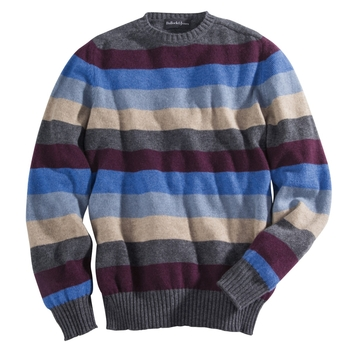 Five Color Stripe Cashmere Crew