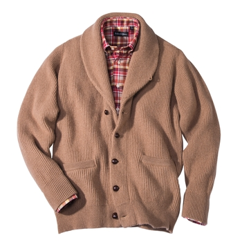 Peters Camel Hair Shawl Collar Cardigan