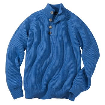 Inglese Ribbed Button Zip Mock