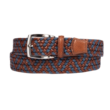 Leather and Linen Stretch Belt