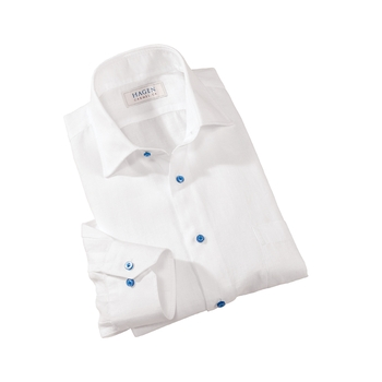 White Linen Sport Shirt by Hagen of Carmel