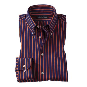 Orange/Navy University Stripe Button-Down
