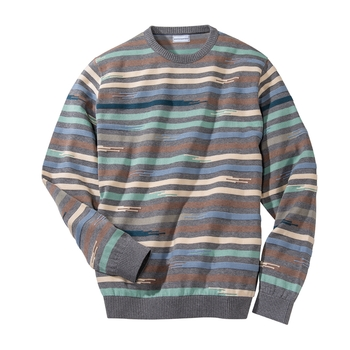 Broken Stripe Cotton Crewneck