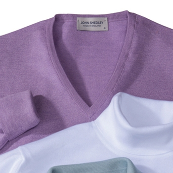 Merino Wool/Sea Island Cotton V-Necks by John Smedley