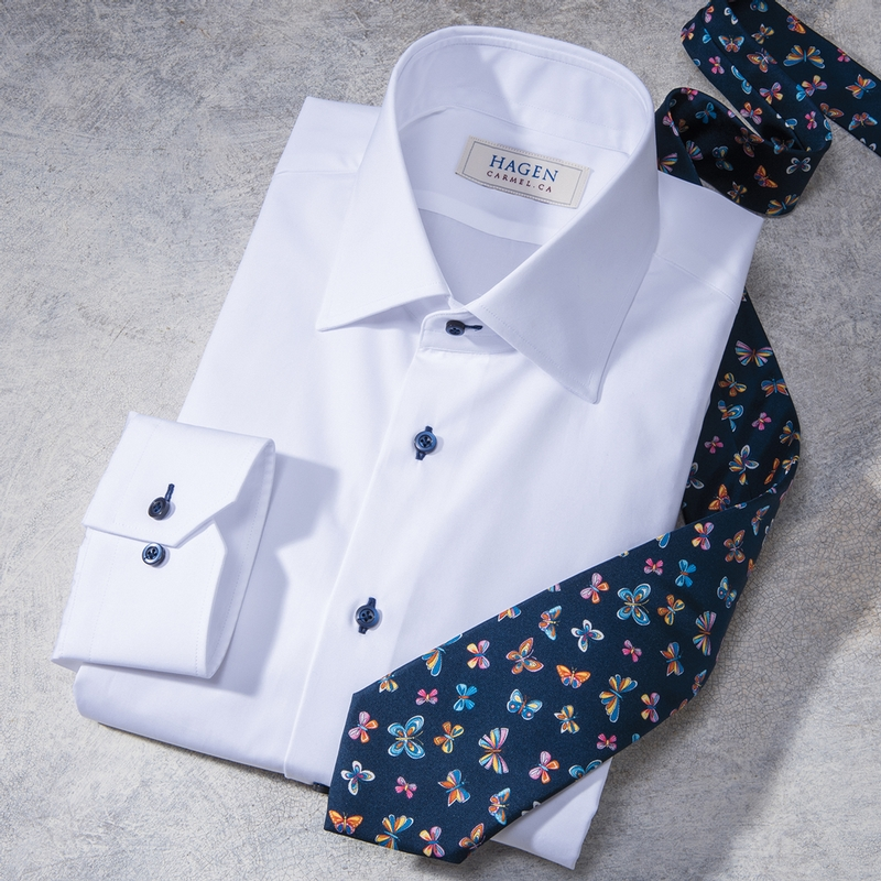 White Poplin Dress Shirt by Hagen