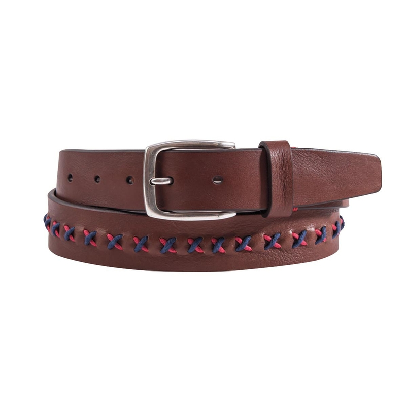 Two-Tone Stitch-Trimmed Belt