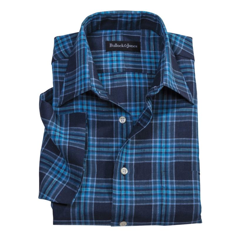 Azul Linen Plaid Sport Shirt Short Sleeve