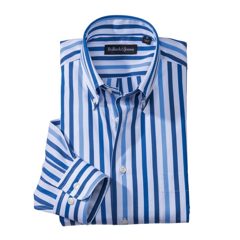 Blue Tonal Stripe Sport Shirt