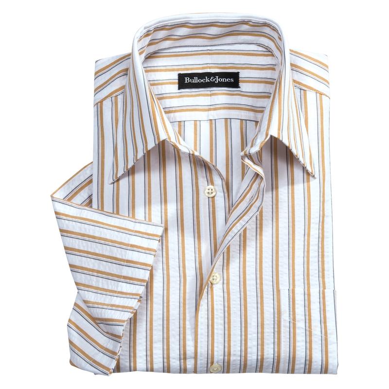 Seersucker Short Sleeve Stripe Shirts