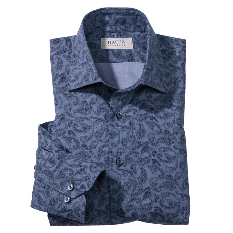 Azul Indigo Paisley Print Sport Shirt by Hagen of Carmel