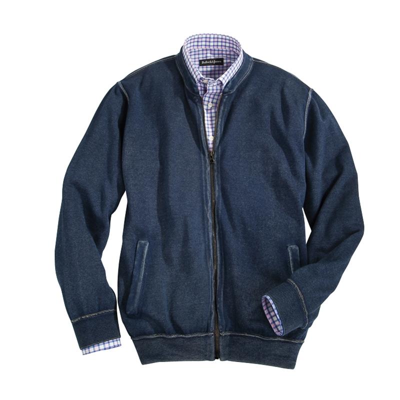 Washed Indigo Cotton Zip Cardigan