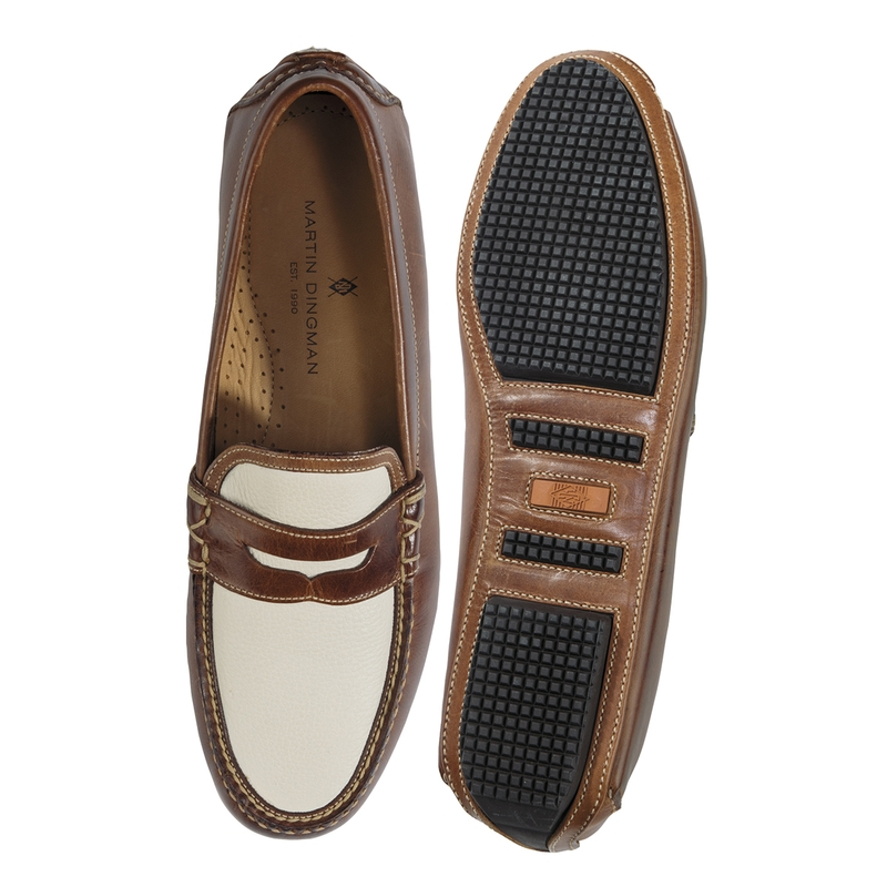 Two-Tone Spectator Penny Loafers by Martin Dingman