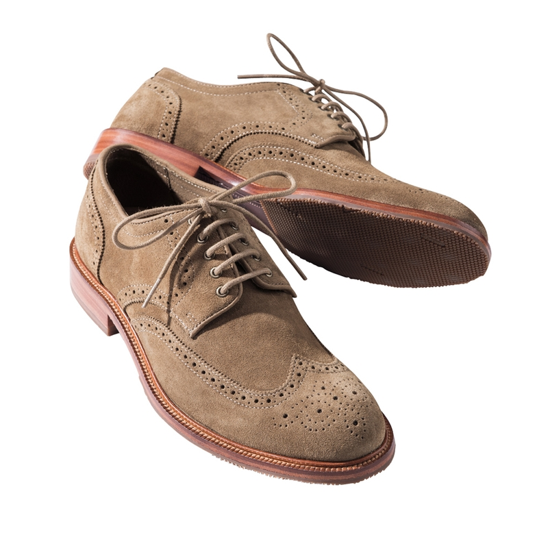 Suede Wing-Tip Oxfords by Trask
