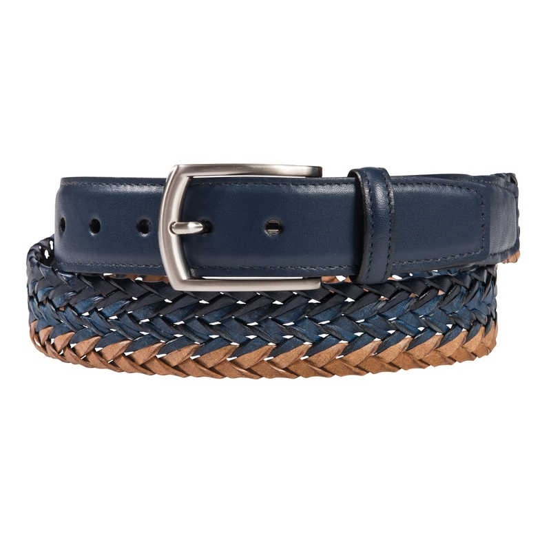 Tri-Color Leather Braided Belt