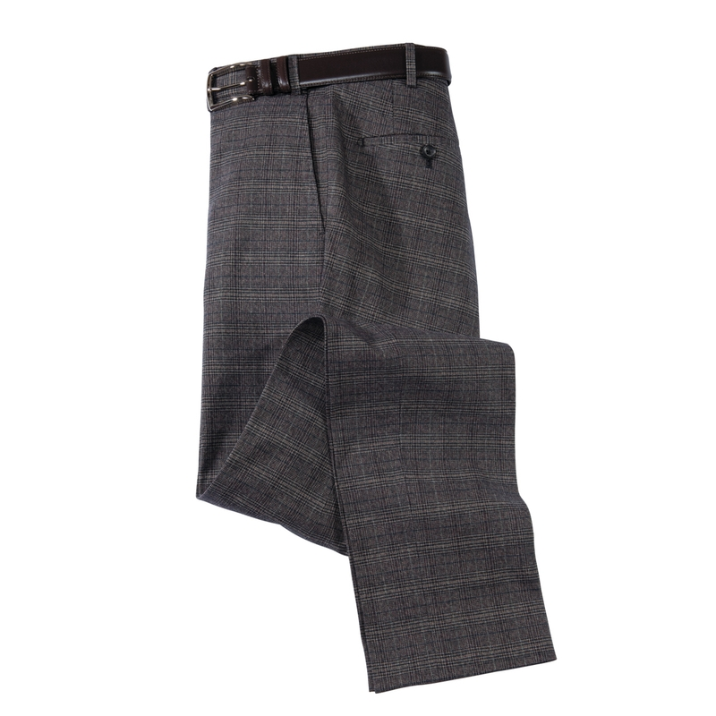 Glen Plaid Cotton Stretch Slacks