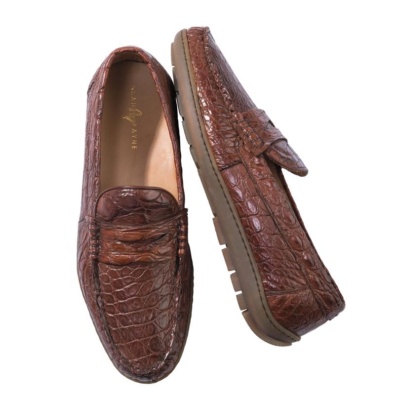 Crocodile Rubber-Sole Penny Loafers