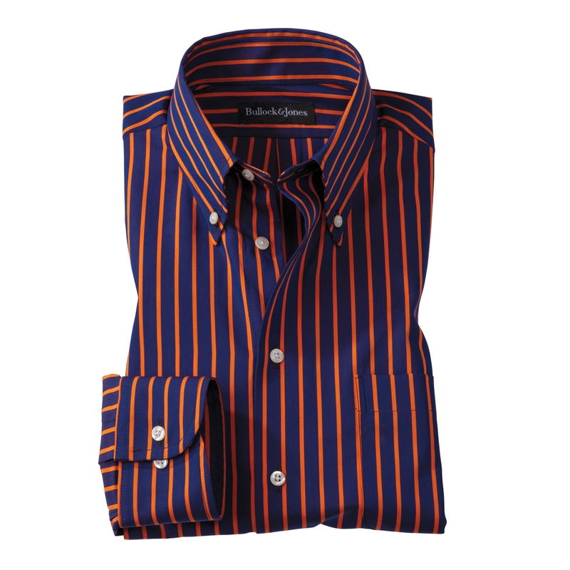 Orange/Navy University Stripe Button-Down