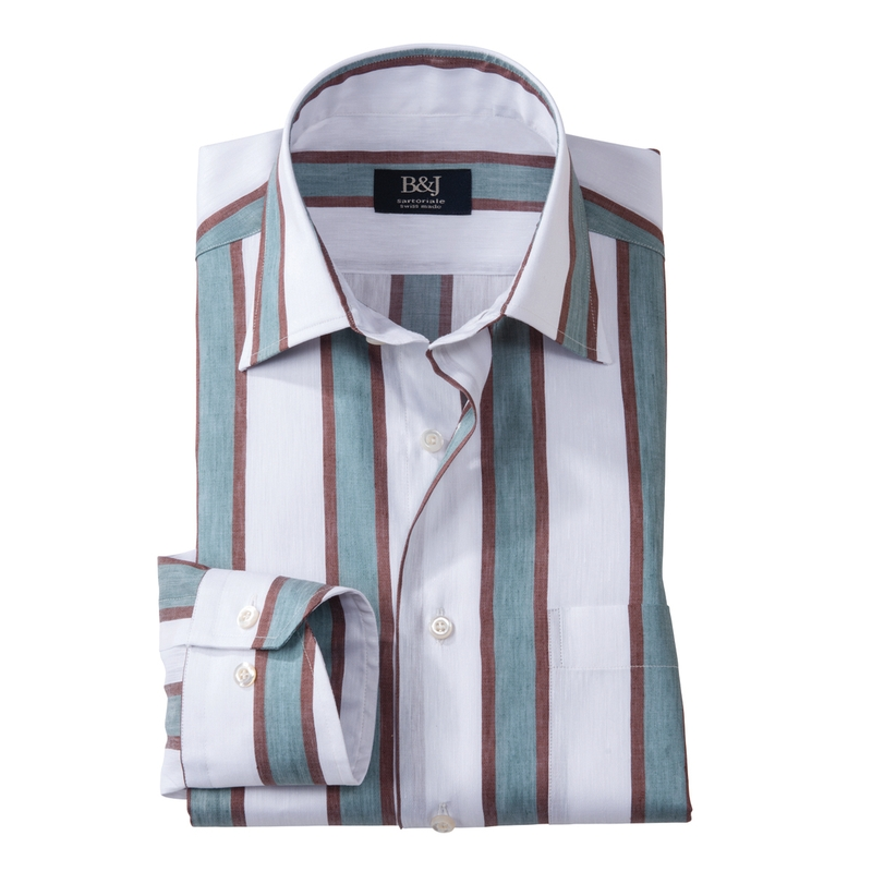 Jade/Mocha Stripe Swiss Sartoriale Shirt