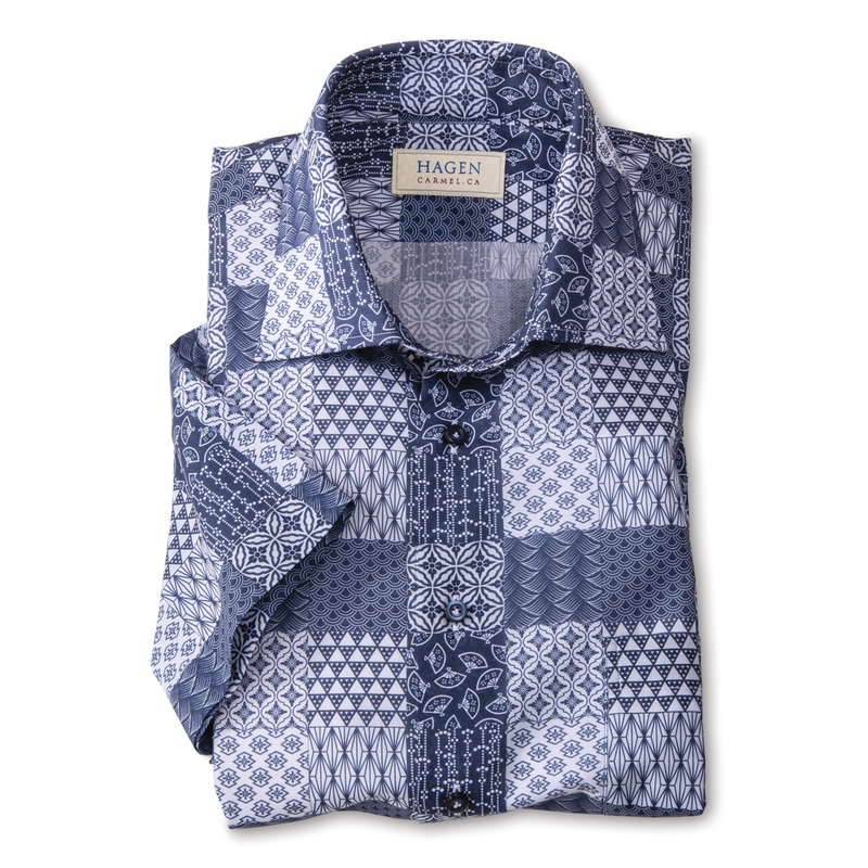 Patchwork Pattern Print Shirt by Hagen